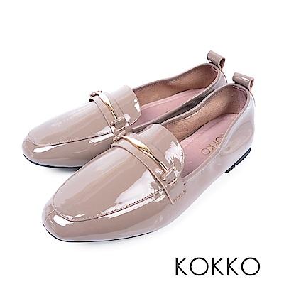 KOKKO -去月球漫步吧漆皮樂福鞋 - 奶茶裸