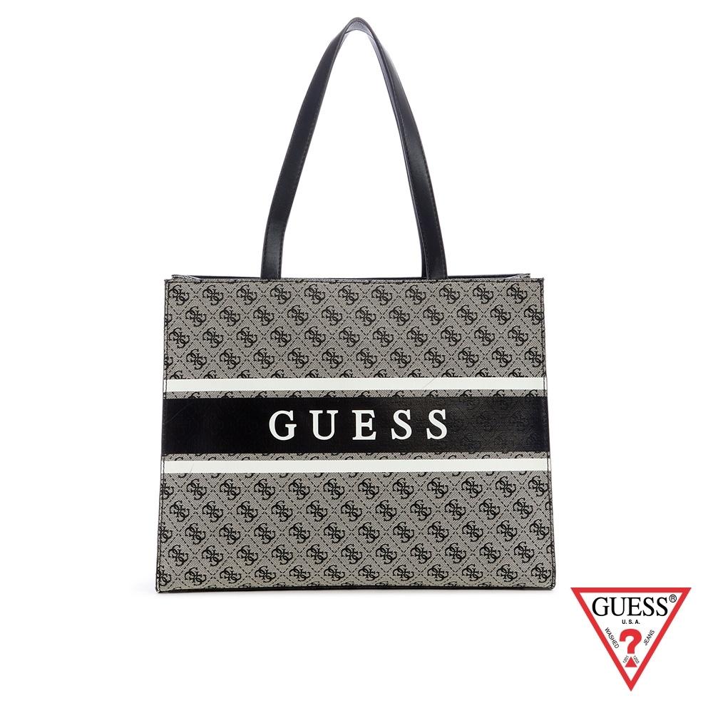 GUESS-女包-撞色復古LOGO印花手提包-黑 原價3690