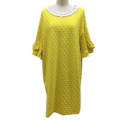 gozo 抽皺荷葉領點點棉質洋裝(二色)