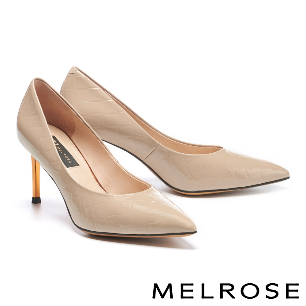 高跟鞋 MELROSE 極簡時尚金屬鍍跟尖頭高跟鞋-杏