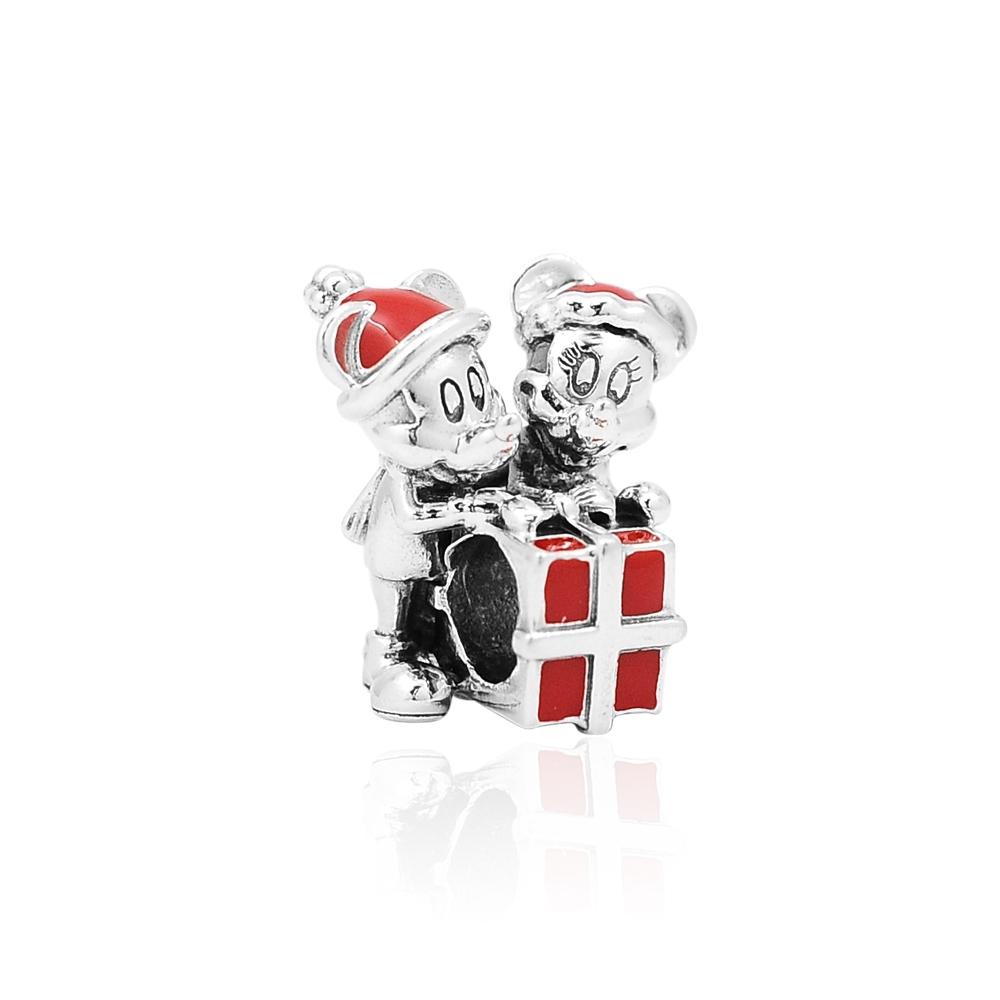 Pandora 潘朵拉 迪士尼系列 米奇與米妮禮物盒 純銀墜飾 串珠
