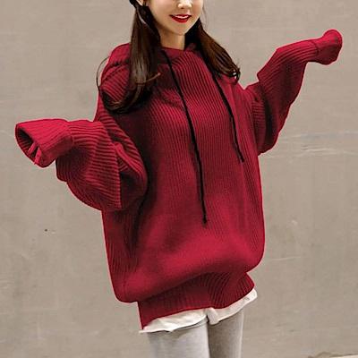 La Belleza黑色抽繩羅紋拼接長版連帽寬鬆針織毛衣 共四色