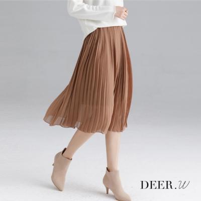 DEER.W 純色百褶雪紡裙(棕)