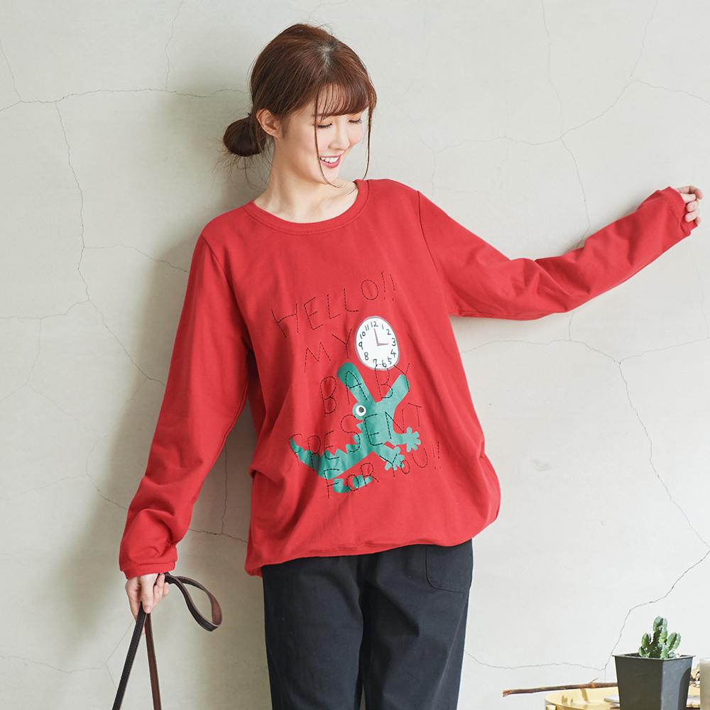 慢 生活 側抓皺印花刺繡寬鬆長袖T-黃/紅
