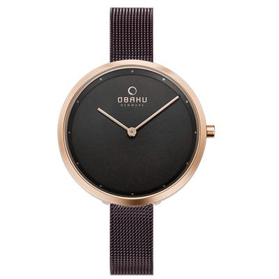 OBAKU 首席極簡主義曲線腕錶-玫瑰金X棕色(V227LXVNMN)/34mm