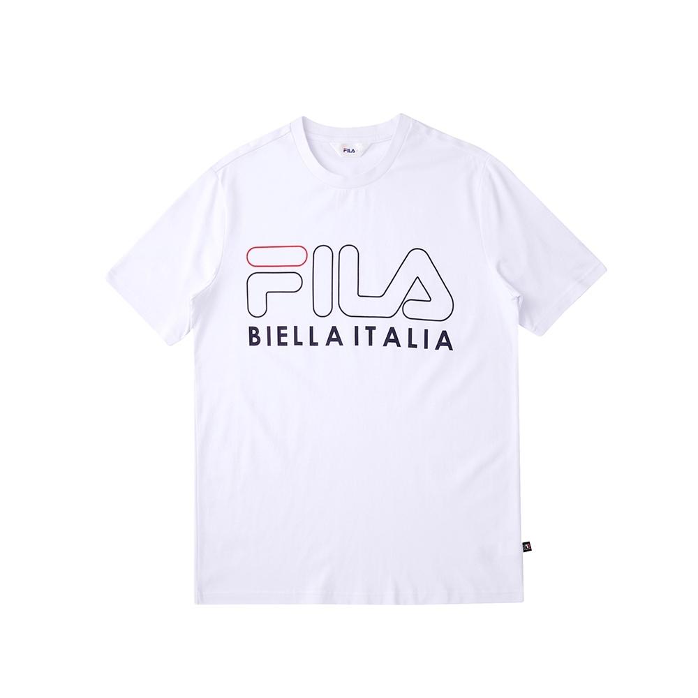 FILA 純棉圓領上衣-白 1TEU-5502-WT