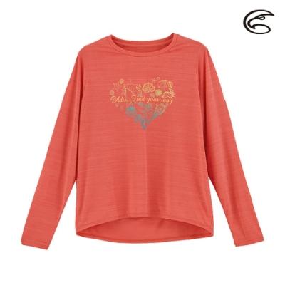 ADISI 女輕薄棉感圖騰圓領長袖排汗衣AL2011109 (S-2XL) 輕珊瑚