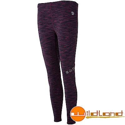 Wildland 荒野 0A52688-11灰紅色 女彈性保暖內搭貼腿褲