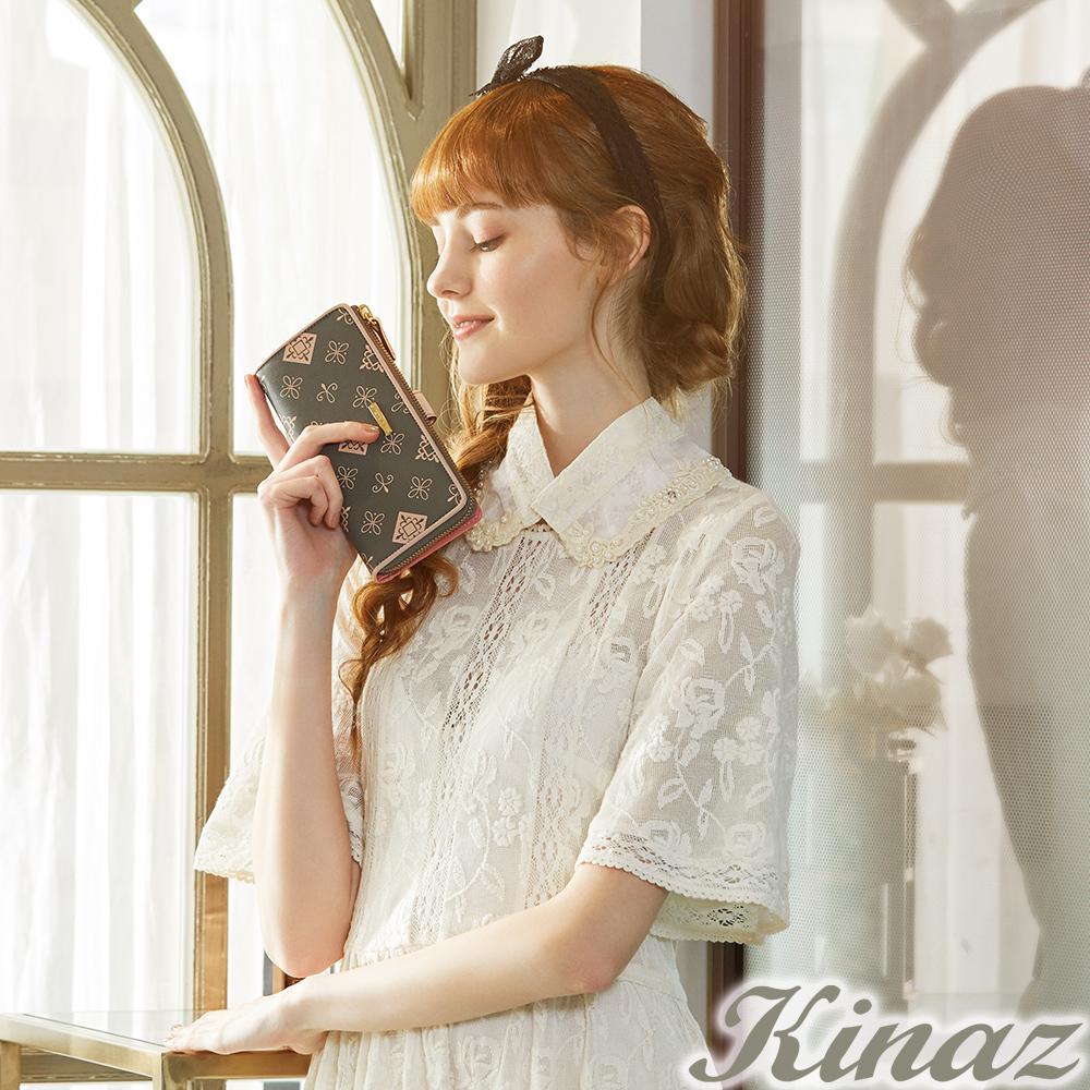 KINAZ 秘戀雛菊L型拉鍊二折長夾-香水系列-快