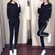 JILLI-KO 兩件套韓版寬鬆衛衣套裝- 黑/灰 product thumbnail 1