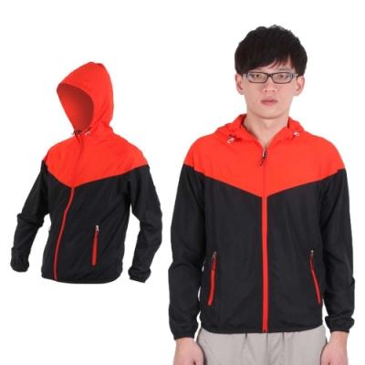 SOFO 男連帽風衣外套-防風外套 橘紅黑