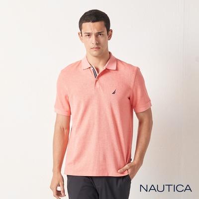 Nautica經典款素色短袖POLO衫-淺橘