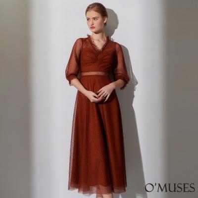 OMUSES 重工V領蕾絲刺繡簍空長洋裝