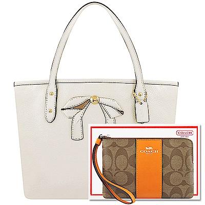 COACH 白色皮革蝴蝶結小型托特包+COACH 黃色大C PVC手拿包