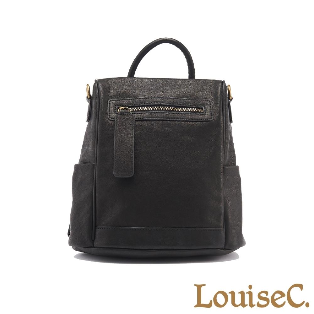 【LouiseC.】植鞣革牛皮背後開口後背包(小尺寸)-黑色 (WI91209-05)