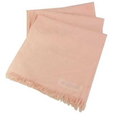 COACH 經典緹花LOGO羊毛混絲針織披肩圍巾(淡粉)
