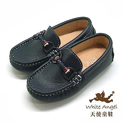 天使童鞋 真皮紳士懶人鞋 (中-大童)E8016-深藍