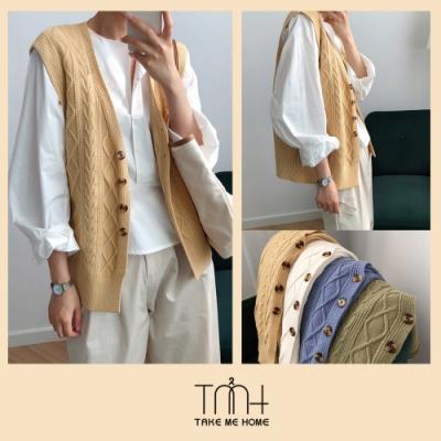 韓版毛料織紋背心-4色-TMH