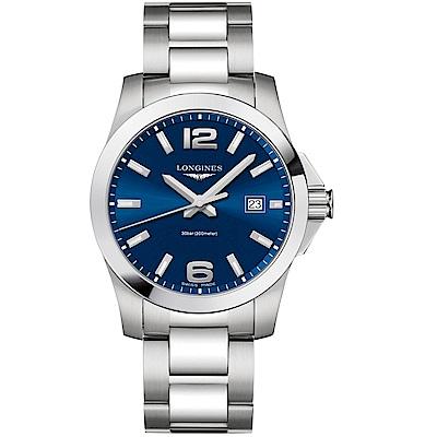 LONGINES浪琴康卡斯系列300米石英錶(L37594966)-藍