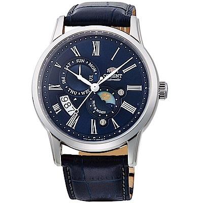 ORIENT東方錶SUN&MOON系列日月相腕錶(SAK00005D)-藍
