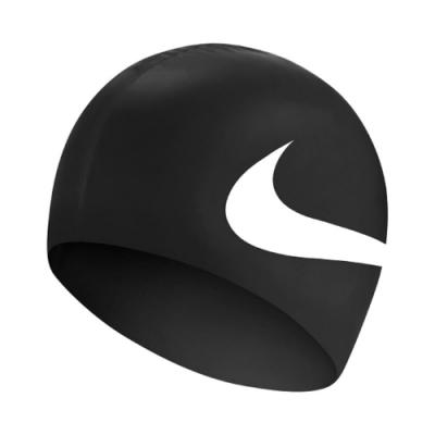 Nike 泳帽 Big Swoosh Silicone Cap 大勾勾 游泳池 矽膠 成人 競速 黑 白 NESS8163001