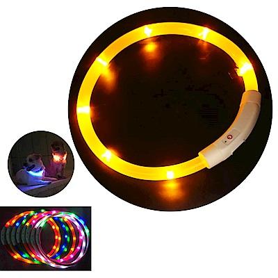 摩達客 LED寵物發光項圈(USB充電式 / 圓周50CM長/黃色燈條款)