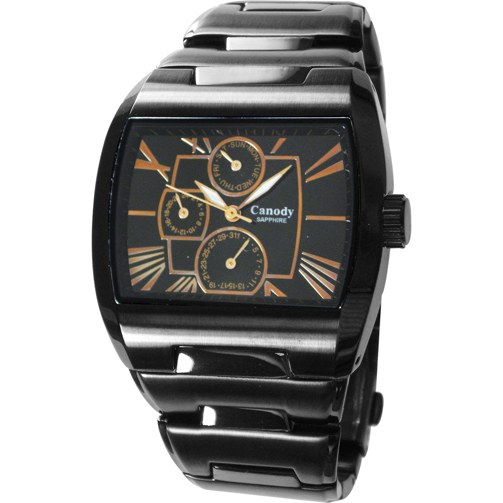 Canody 羅馬時尚三眼日期手錶(CG9806-3A)-黑x玫瑰金指針/41mm