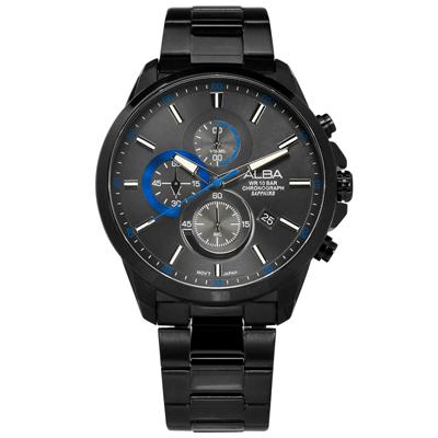 ALBA 競速藍寶石水晶玻璃計時日期防水不鏽鋼手錶-深灰x鍍黑/44mm