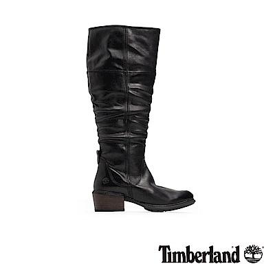 Timberland 女款黑色全粒面皮革過膝靴|A1T33