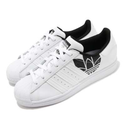 adidas 休閒鞋 Superstar 復古 低筒 男女鞋 愛迪達 三葉草 貝殼頭 皮革 情侶鞋 白 黑 FY2824
