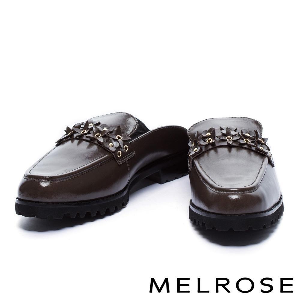 拖鞋 MELROSE 復古時尚鉚釘花朵穆勒低跟拖鞋-灰