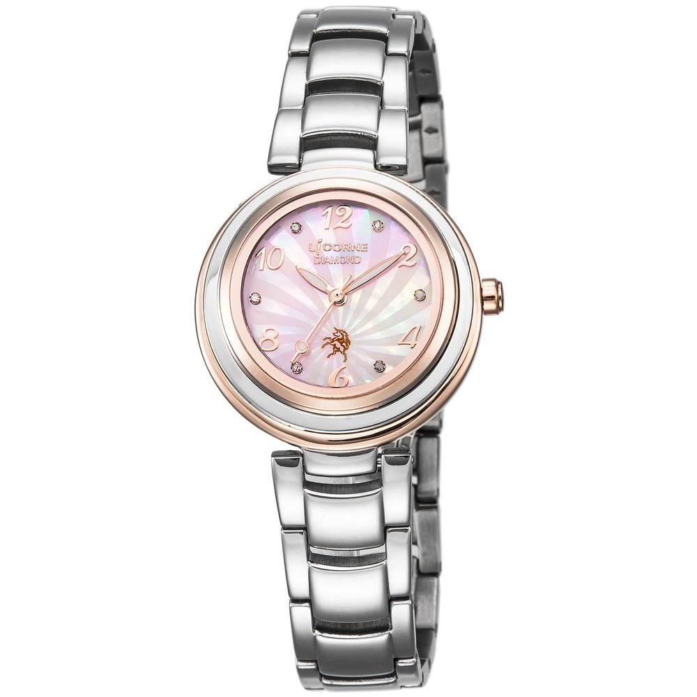 LICORNE 永恆時光真鑽系列 浪漫貝面晶鑽手錶-玫瑰金x粉紅/30mm