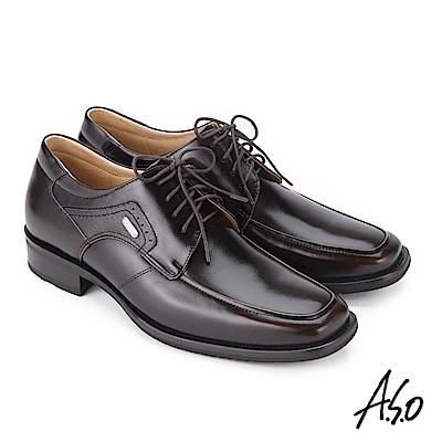 A.S.O 菁英通勤 綁帶鏡面牛皮奈米紳士鞋 茶