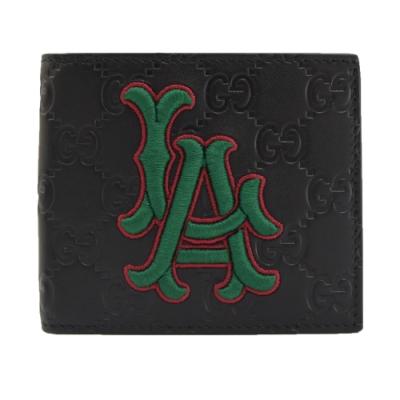 GUCCI LA Dodgers刺繡造型雙G LOGO牛皮八卡對開短夾(黑)