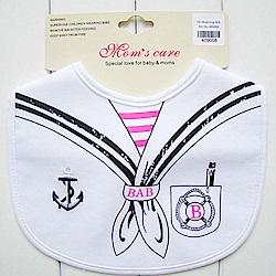 Baby unicorn 白色水手領結方形圍兜