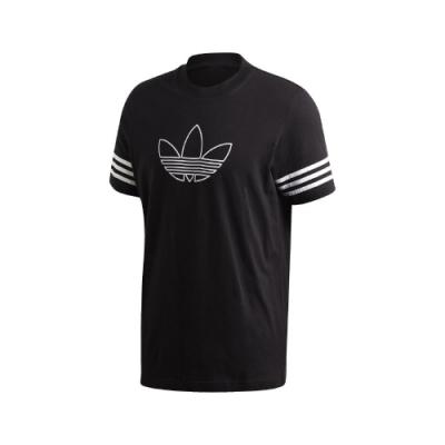 adidas T恤 Outline Tee 運動休閒 基本款 男款 愛迪達 三葉草 三線 圓領 棉質 穿搭 黑 白 FM3897