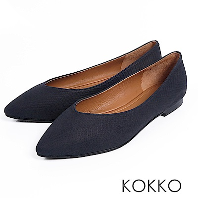 KOKKO - 超軟底復古尖頭真皮平底鞋-馬尾藻海