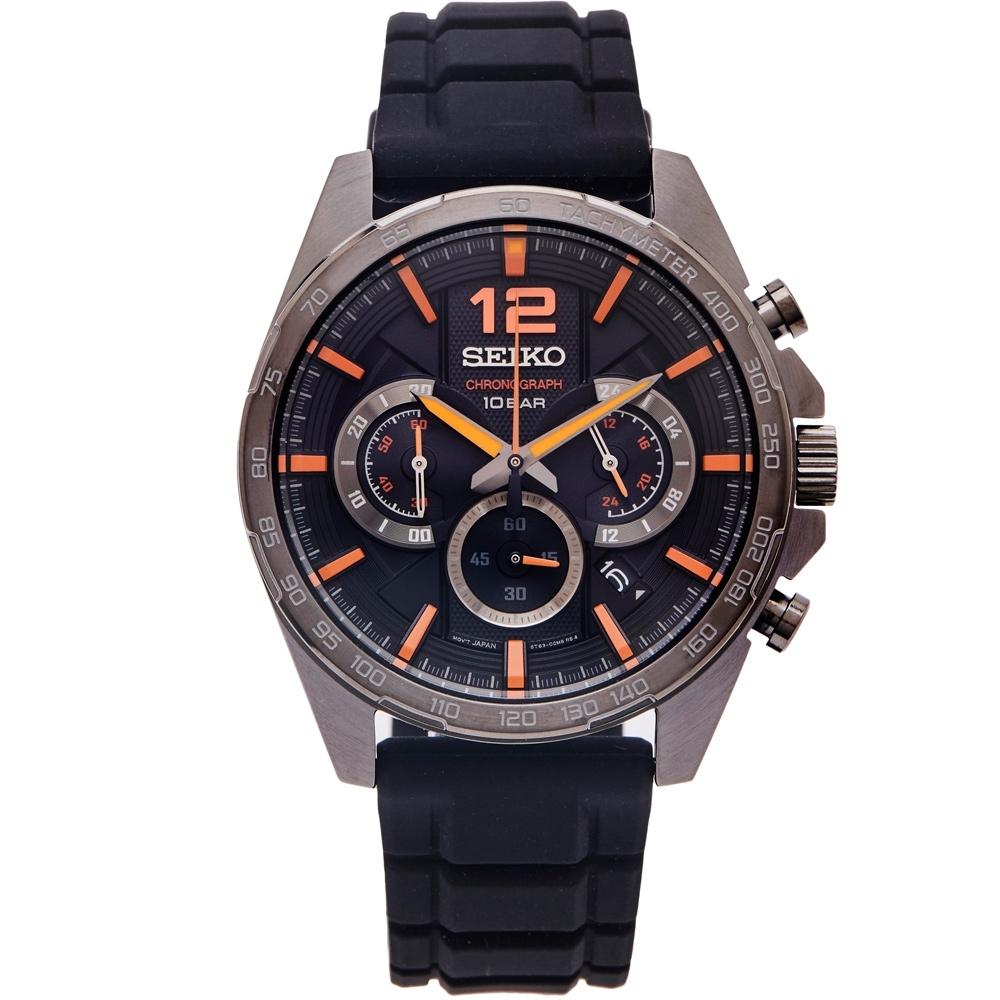 SEIKO 疾風競速風格計時橡膠材質錶帶手錶(SSB351P1)-灰黑色面/44mm