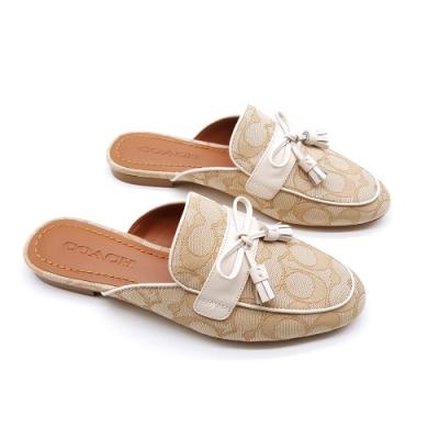 COACH經典LOGO帆布牛皮穆勒鞋懶人鞋-淺米色