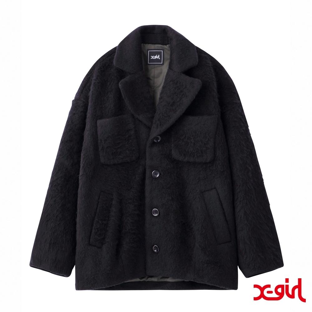 X-girl SHAGGY COCOON COAT大衣外套-黑