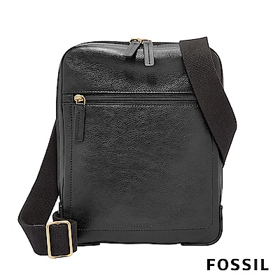 FOSSIL HASKELL 真皮簡約貼身款側背包-黑色