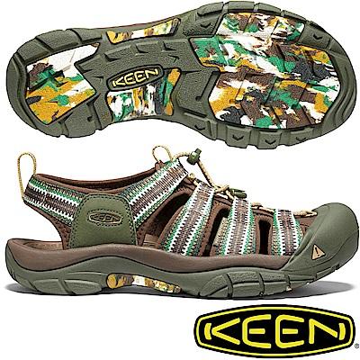 KEEN 1020288深咖啡/綠 Newport H2 男戶外護趾涼鞋