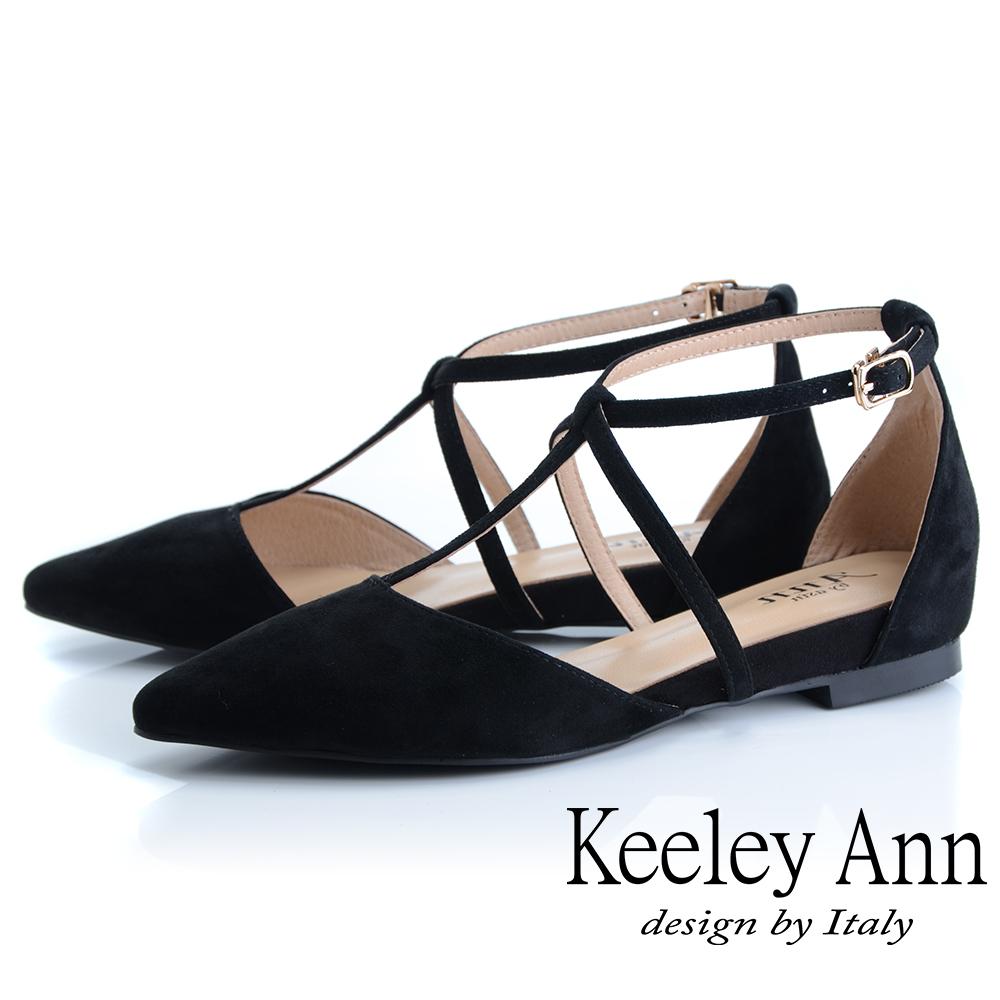Keeley Ann慵懶盛夏 全真皮交叉帶尖頭麂皮包鞋(黑色-Ann系列)
