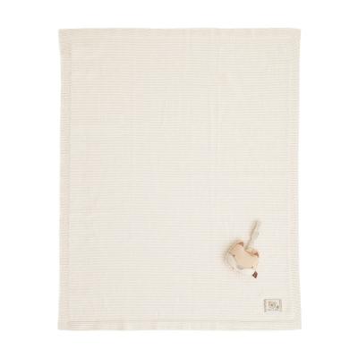 奇哥 有機棉針織棉毯禮盒-條紋薄款(毯子+安撫玩偶)