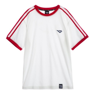 【PONY】純棉直筒短袖上衣T恤-男款-白紅 白藍