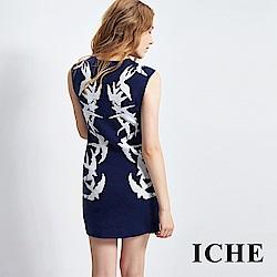 ICHE衣哲 燕子印花長版上衣洋裝 兩穿-深藍