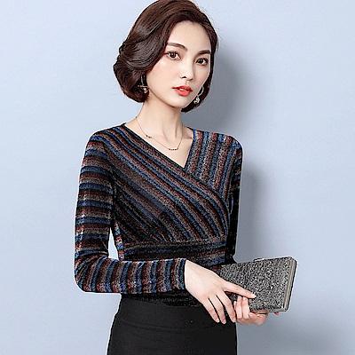 ALLK 斜紋針織網紗上衣 圖片色(尺寸M-XXL)