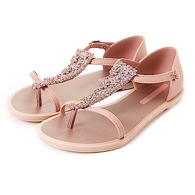 GRENDHA 華麗立體花紋T字帶平底涼鞋-粉膚