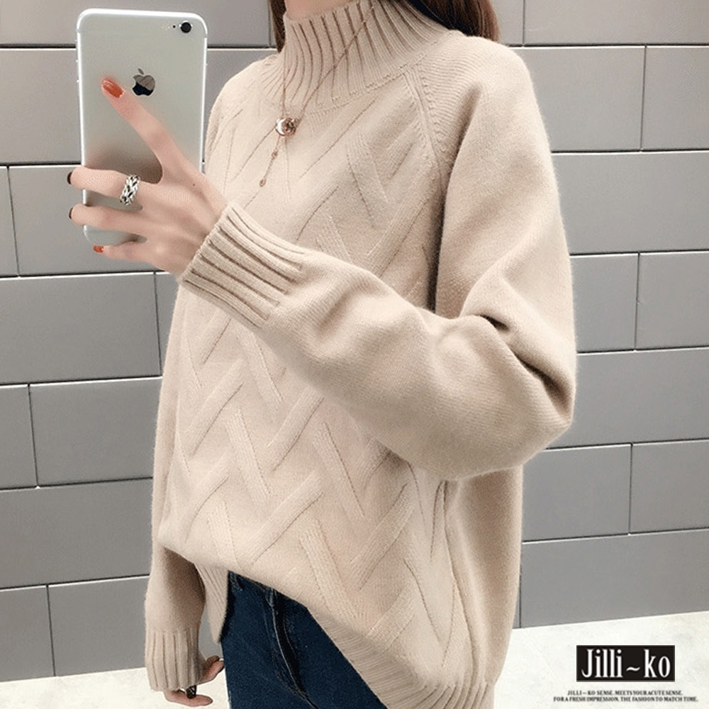 JILLI-KO 菱紋交織素色親膚毛衣- 綠/藍/卡