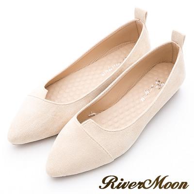 River&Moon素雅百搭-細絨造型剪裁尖頭鞋-米白